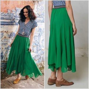 Anthro Vanessa Virginia Colima Green Maxi Skirt